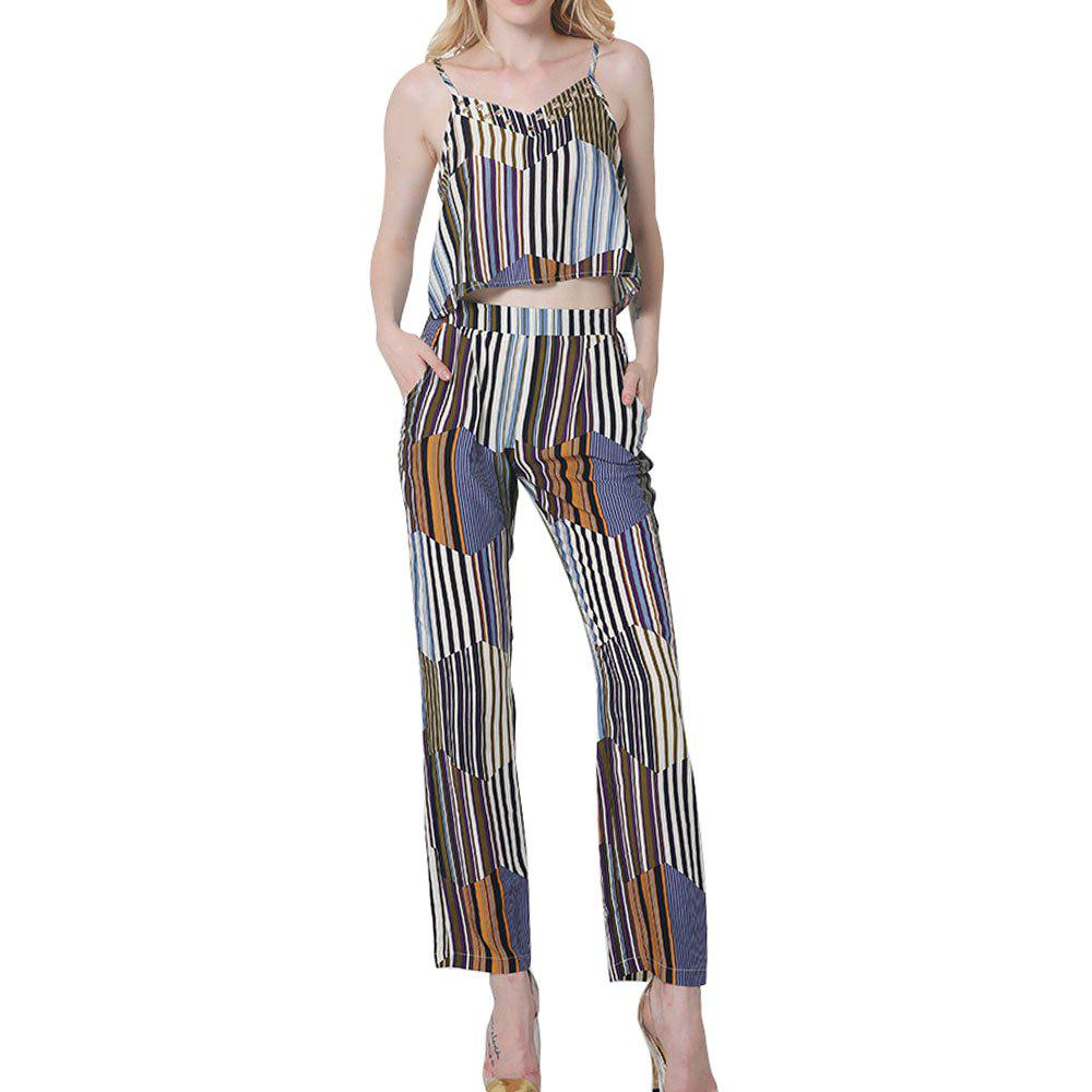 Womens Summer Fashion Geometric Striped Bohemian Cotton Halter Sexy Lumbar Trousers Set - BLUE STRIPE XL