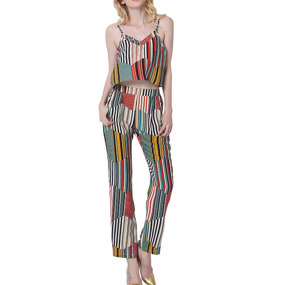Womens Summer Fashion Geometric Striped Bohemian Cotton Halter Sexy Lumbar Trousers Set - RED/GREEN M