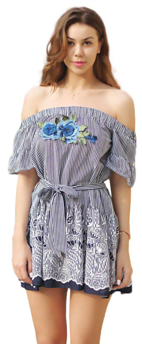 Fringes Off Shoulder Tie Dress - BLUE S