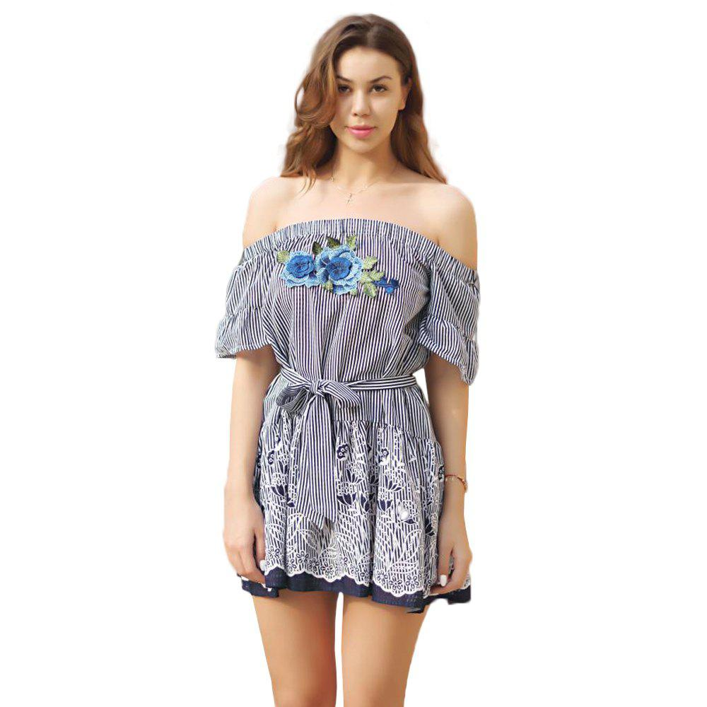 Fringes Off Shoulder Tie Dress - BLUE L