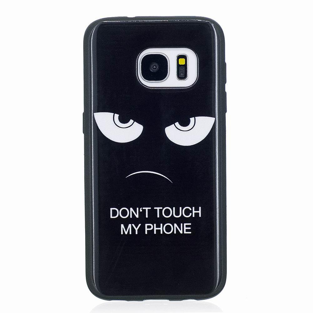 Marble Vein Soft Phone Back Cover Case For Samsung Galaxy S7 Anti-Knock Personality Case - BLACK