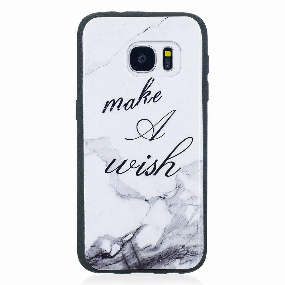 Marble Vein Soft Phone Back Cover Case For Samsung Galaxy S7 Edge Anti-Knock Personality Case - WHITE