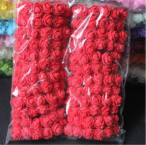 144 PCS Mousse Artificielle Rose Multicolore PE Fleurs Ornements Saint-Valentin cadeau - Rouge