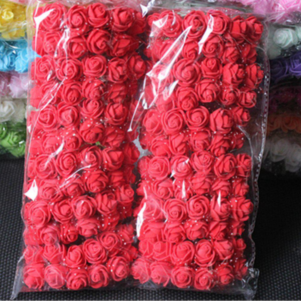144 PCS Artificial Foam Rose Multicolor PE Flowers Ornaments Valentine's Day present - RED