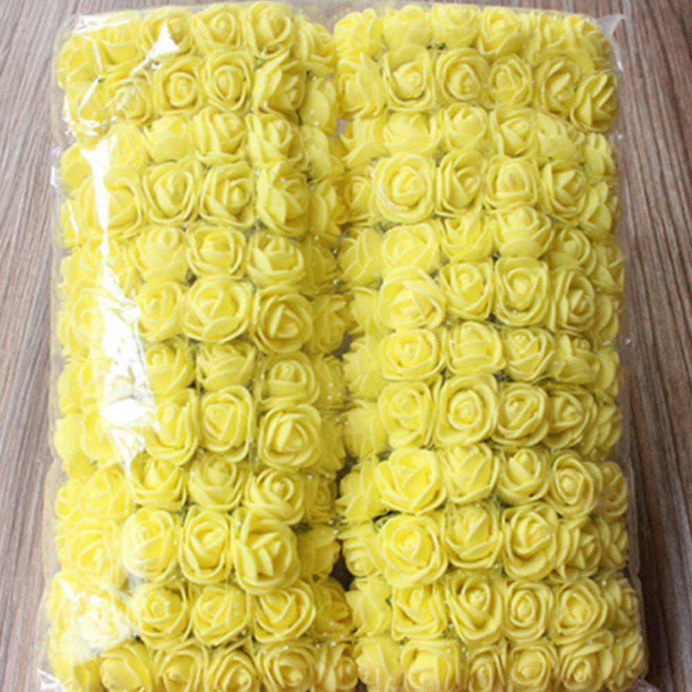 144 PCS Artificial Foam Rose Multicolor PE Flowers Ornaments Valentine's Day present - YELLOW