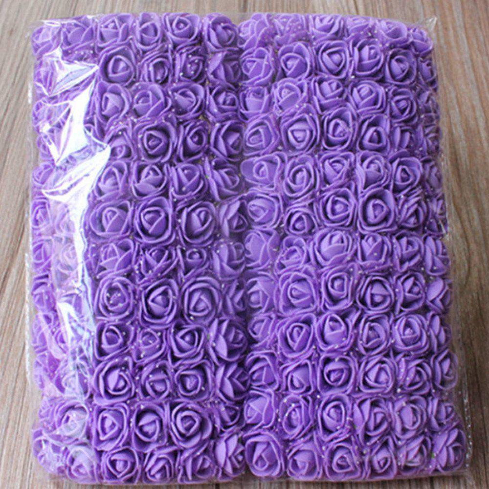 144 PCS Artificial Foam Rose Multicolor PE Flowers Ornaments Valentine's Day present - PURPLE