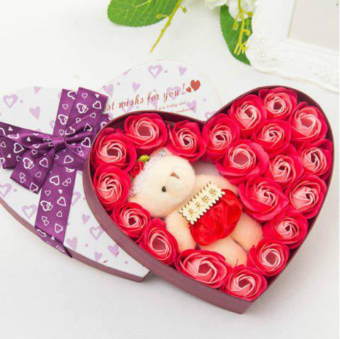 Heart box Bear Rose Flower Soap  Bouquet  Valentines Gift - RED