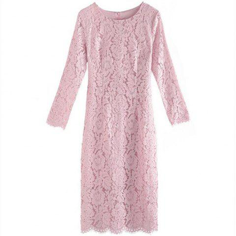 Women's Daily A Line Solid Round Neck Above Knee Short Sleeves Cotton Summer  Dress - PINK M