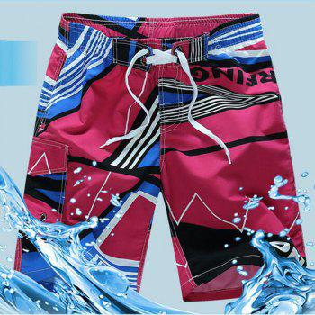 Men's Mid Rise Micro Elastic Boho Active Loose Patchwork Print  Shorts Pants - RED RED