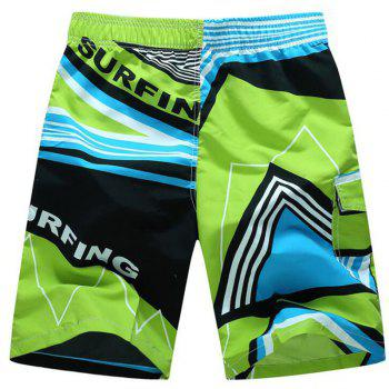Men's Mid Rise Micro Elastic Boho Active Loose Patchwork Print  Shorts Pants - GREEN XL