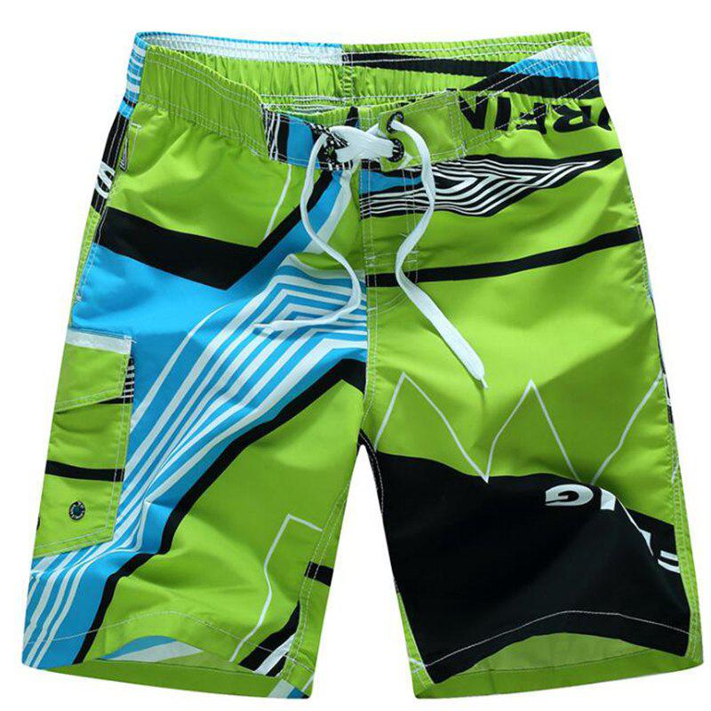 Men's Mid Rise Micro Elastic Boho Active Loose Patchwork Print  Shorts Pants - GREEN M