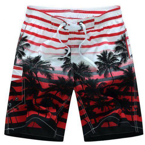 Men's Mid Rise Micro Elastic Boho Active Loose Patchwork Striped Shorts Pants - RED 3XL