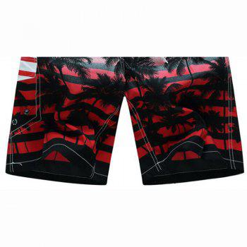 Men's Mid Rise Micro Elastic Boho Active Loose Patchwork Striped Shorts Pants - RED XL