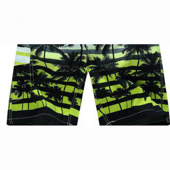 Men's Mid Rise Micro Elastic Boho Active Loose Patchwork Striped Shorts Pants - YELLOW 2XL