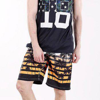 Men's Mid Rise Micro Elastic Boho Active Loose Patchwork Striped Shorts Pants - ORANGE ORANGE