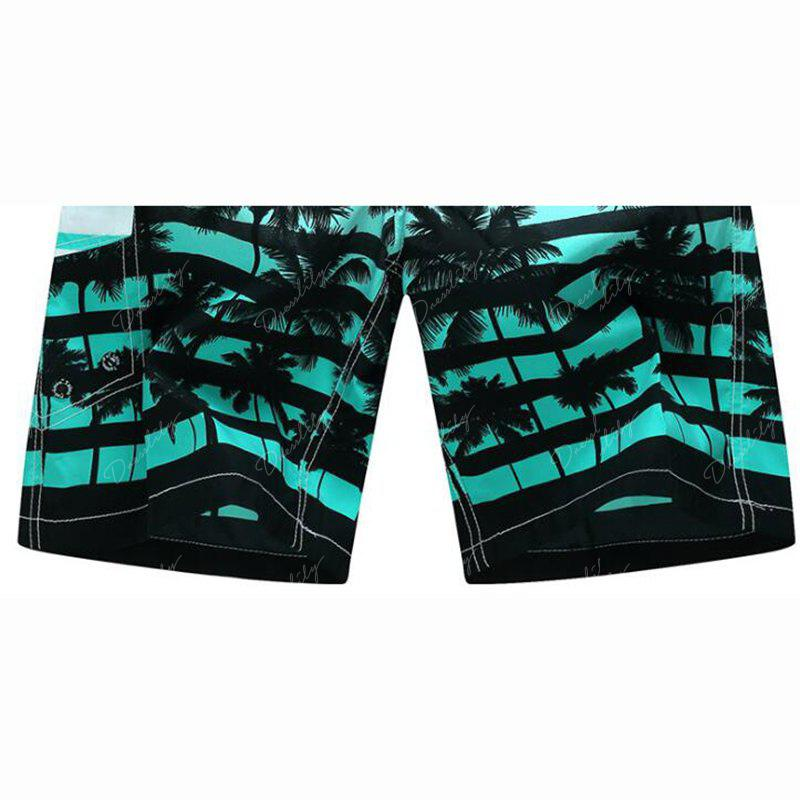 Men's Mid Rise Micro Elastic Boho Active Loose Patchwork Striped Shorts Pants - GREEN M