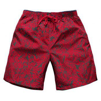 Men's Mid Rise Micro-elastic Active Simple Active Straight Camouflage Shorts Sweatpants Pants - RED RED