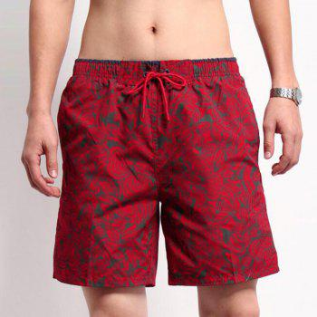 Men's Mid Rise Micro-elastic Active Simple Active Straight Camouflage Shorts Sweatpants Pants - RED M