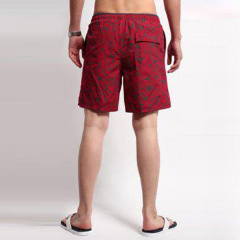 Men's Mid Rise Micro-elastic Active Simple Active Straight Camouflage Shorts Sweatpants Pants - RED L
