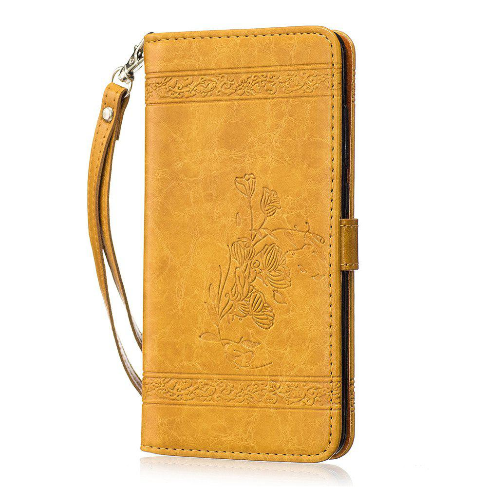 for Redmi Note4 Case Cover Embossed Oil Wax Lines Phone Case Cover PU Leather Wallet Style Case - GOLDEN