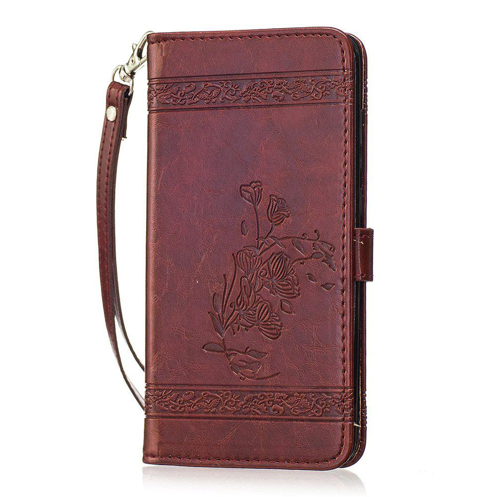 for Redmi Note4 Case Cover Embossed Oil Wax Lines Phone Case Cover PU Leather Wallet Style Case - WINE RED