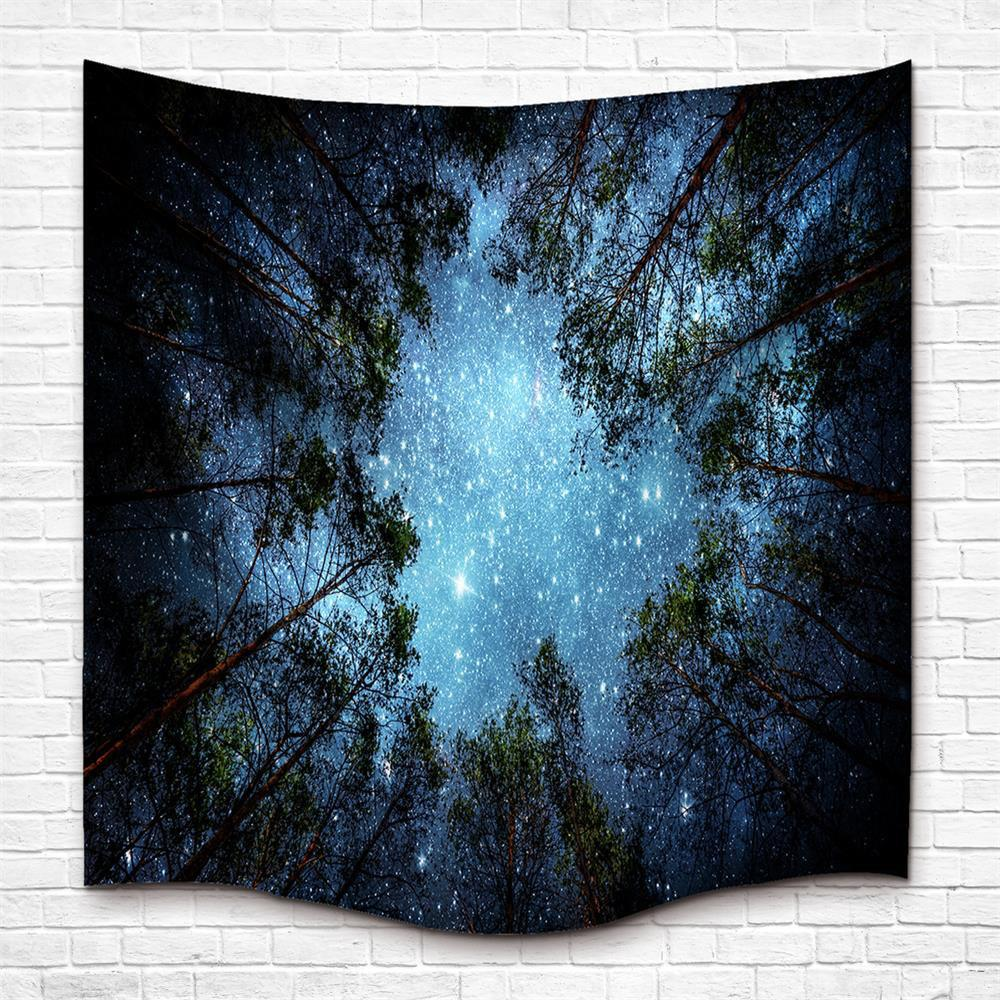 The Forest and Starry Sky 3D Digital Printing Home Wall Hanging Nature Art Fabric Tapestry for Dorm Bedroom Living Room green lake 3d printing home wall hanging tapestry for decoration