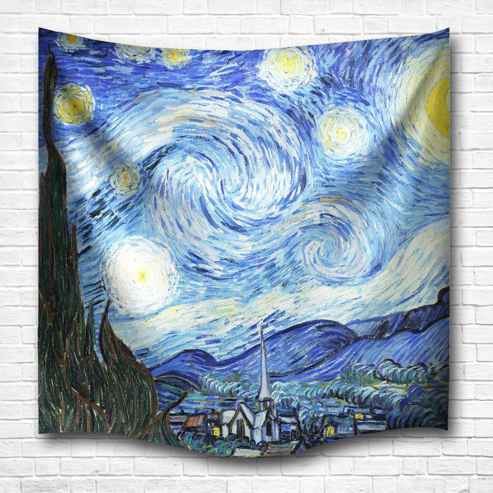 The Starry Night 3D Digital Printing Home Wall Hanging Nature Art Fabric  Tapestry For Dorm Bedroom