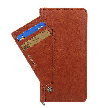 For iPhone 7 Plus  Clamshell Rotating Card Purse Holster - BROWN