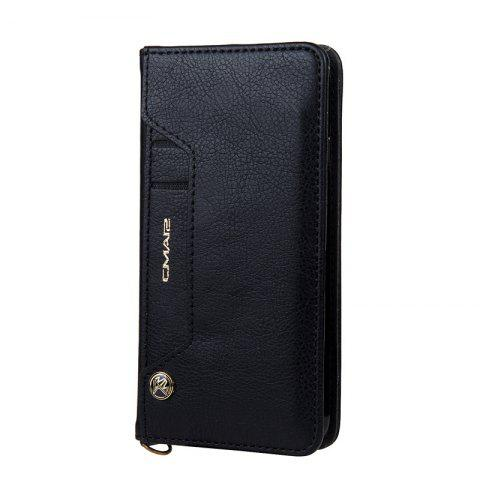 Pour iPhone 8 Clamshell Rotating Card Purse Holster - Noir