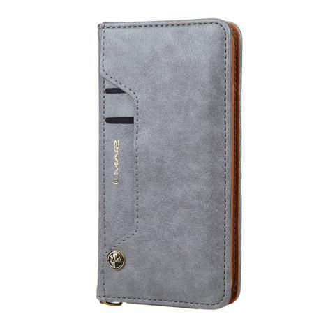 Pour iPhone 8 Clamshell Rotating Card Purse Holster - Gris