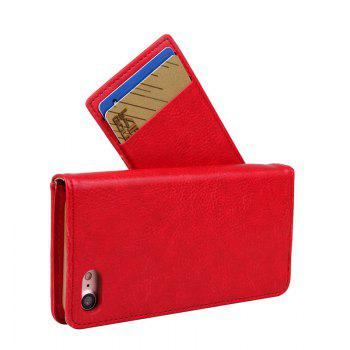 For iPhone 8 Clamshell Rotating Card Purse Holster - RED