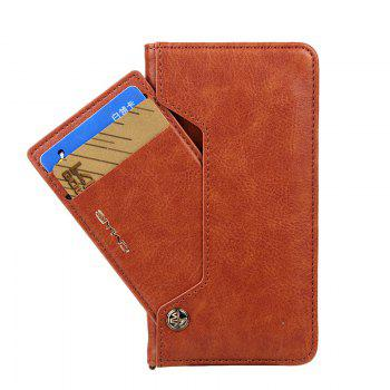 For iPhone 8 Clamshell Rotating Card Purse Holster - BROWN