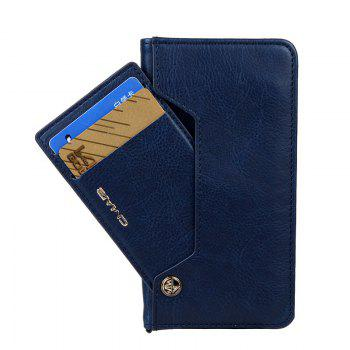 For iPhone 8 Clamshell Rotating Card Purse Holster - BLUE