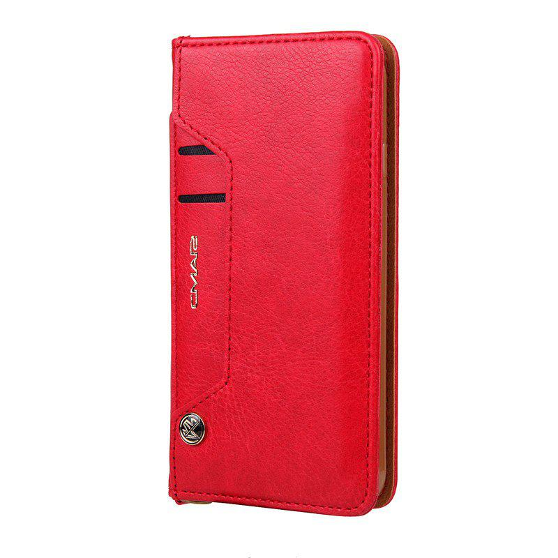 Pour iPhone 8 Clamshell Rotating Card Purse Holster - Rouge