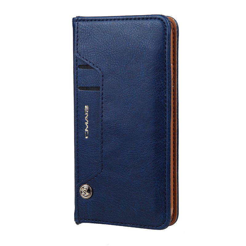 Pour iPhone 8 Clamshell Rotating Card Purse Holster - Bleu