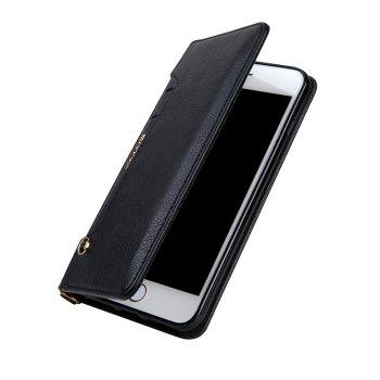 For iPhone 8 Plus Clamshell Rotating Card Purse Holster - BLACK
