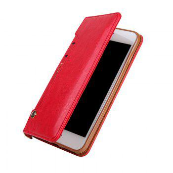 Pour iPhone 8 Plus Clamshell Rotary Card Purse Holster - Rouge