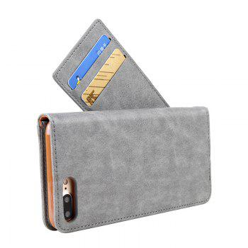 For iPhone 8 Plus Clamshell Rotating Card Purse Holster - GRAY
