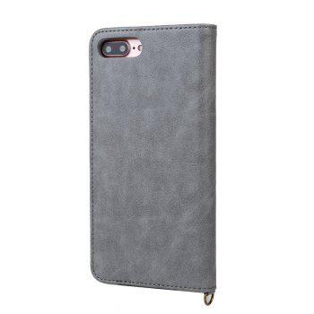 Pour iPhone 8 Plus Clamshell Rotary Card Purse Holster - gris