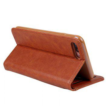 Pour iPhone 8 Plus Clamshell Rotary Card Purse Holster - BRUN