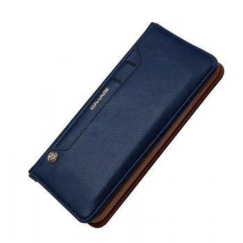 Pour iPhone 8 Plus Clamshell Rotary Card Purse Holster - Bleu