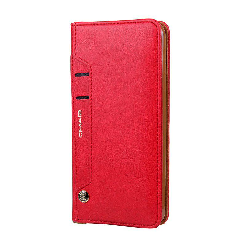 For iPhone 8 Plus Clamshell Rotating Card Purse Holster - RED