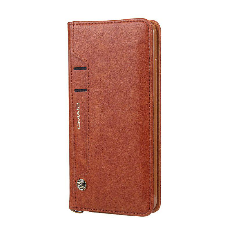 For iPhone 8 Plus Clamshell Rotating Card Purse Holster - BROWN