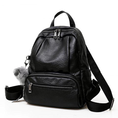 Sac à dos en cuir souple Travel Wildbag - Noir