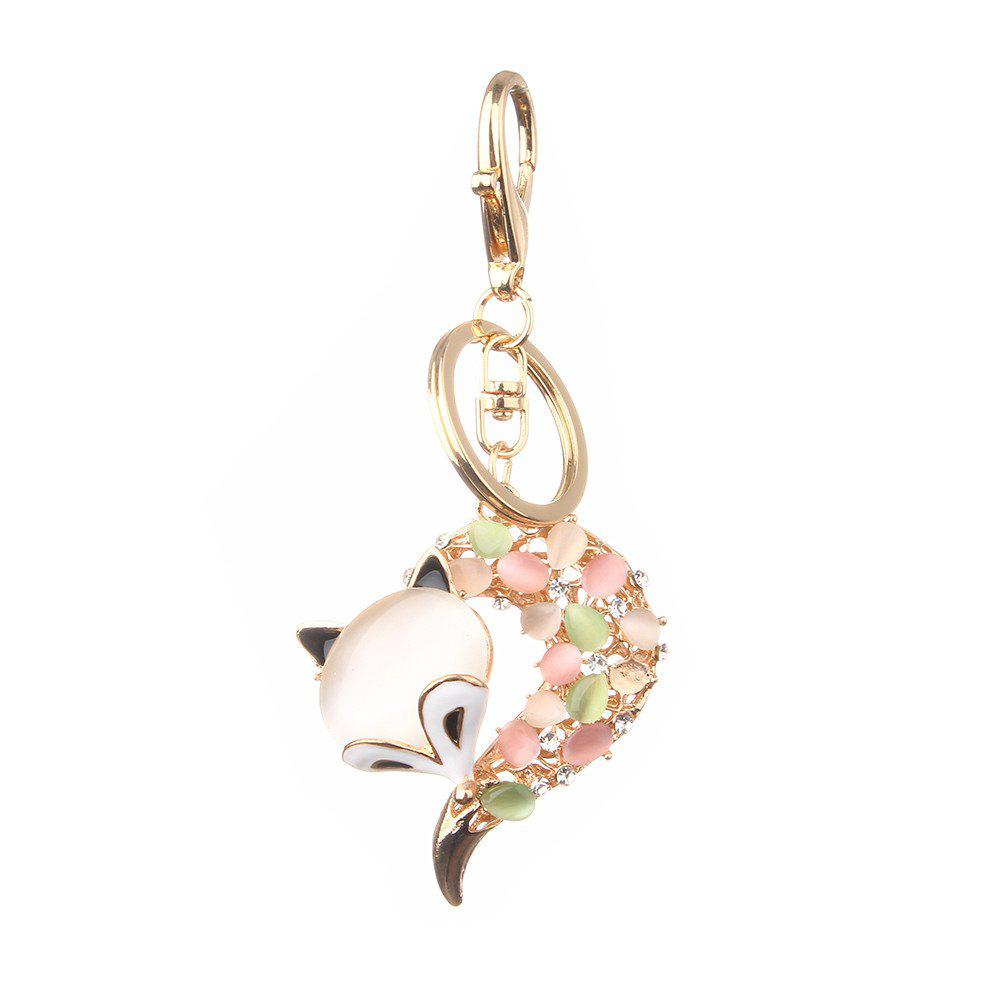 Fox Head Inlay Pearl Rhinestone Key Chain - COLOUR
