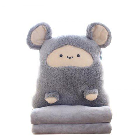 Decorative Pillow Comforter Set Three in One Cute Cartoon Themed Soft Cushion - GRAY 100X180CM
