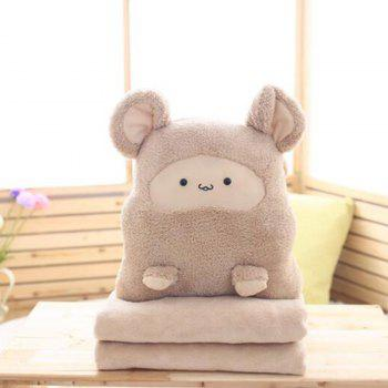 Decorative Pillow Comforter Set Three in One Cute Cartoon Themed Soft Cushion - BROWN 100X180CM
