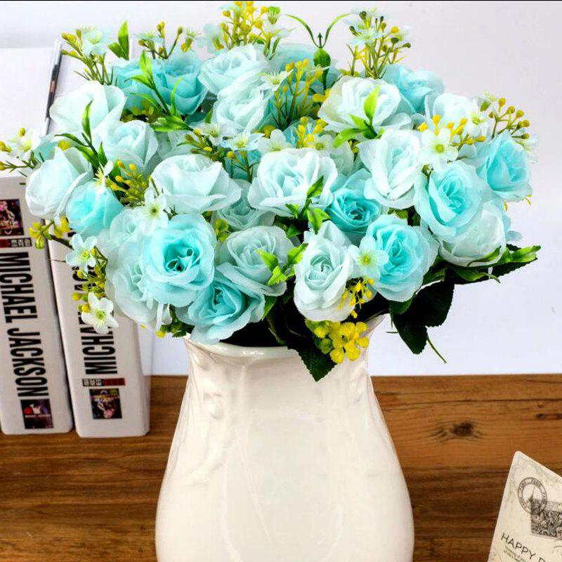 Artificial Flowers Vivid Pink Blue Rose Bouquet Home Decorative Display - BLUE 26CM X 12CM