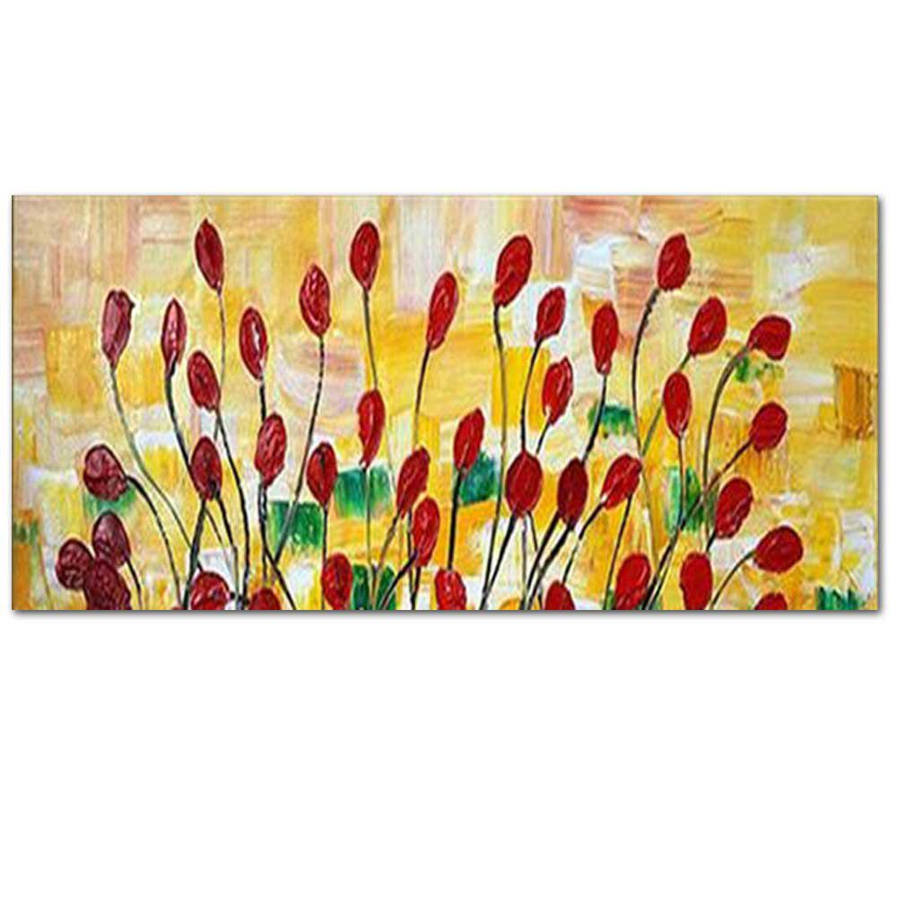 2018 Pure Hand Painted Red Poppy Flower Thick Texture Oil Painting ...