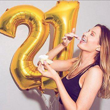 21ST Gold Number Balloon Foil Mylar Balloons Happy Birthday Banner for Bday Party Decorations - BLACK/GOLD 1 SET